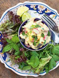 Smoked chicken, mango and spring herb salad