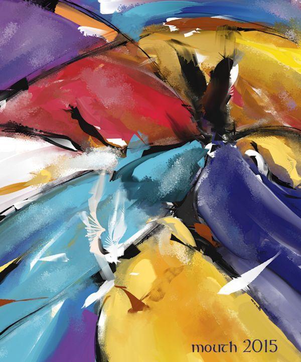 Patric Mouth - L'aigle et les colombes (Abstract 1510) 2015 Arts numériques, Peinture numérique Peinture digitale abstraite - Abstract digital painting.