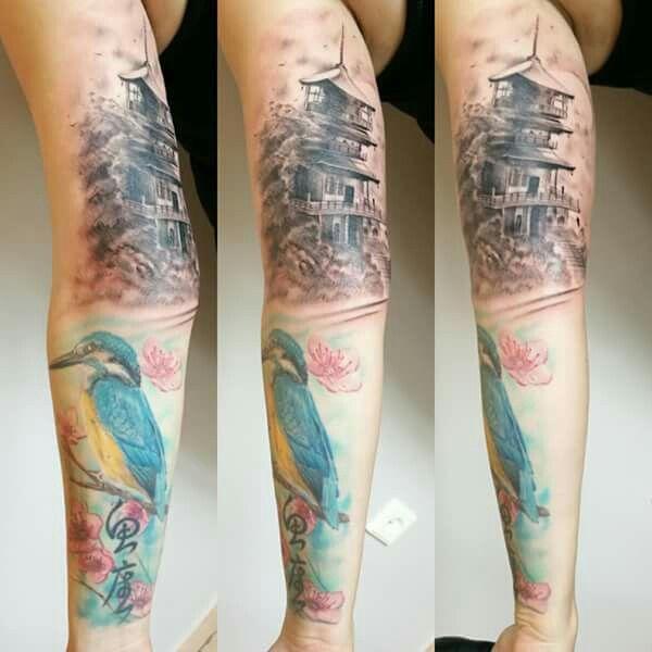 Japanese tattoo sleeve,tattoo japanese, realistic, realism tattoo, tattoo andel chrudim , pagoda, fisher bird