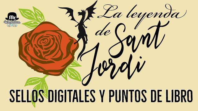 Leyenda de Sant Jordi  sellos digitales y puntos de libro con lettering