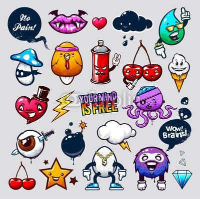 Vector: Graffiti bizarre characters