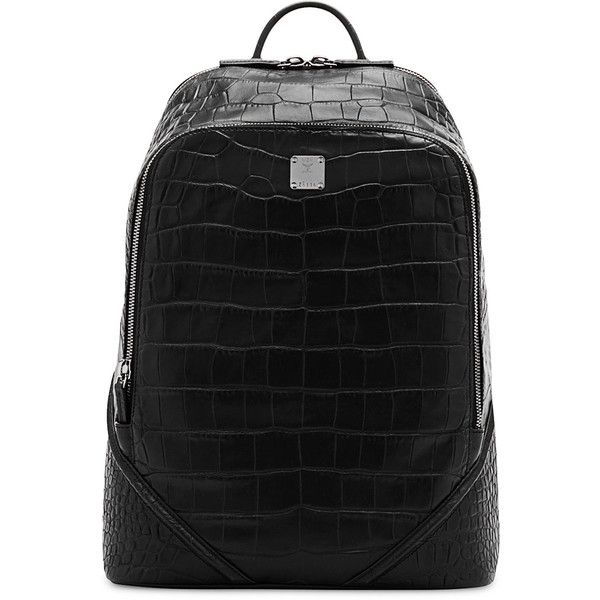 Mcm Duke Luxus Men's Crocodile-Embossed Medium Backpack (£1,010) ❤ liked on Polyvore featuring men's fashion, men's bags, men's backpacks, black, men bags backpacks and mens backpacks