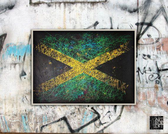 Flag of Jamaica  vintage hand-painted Jamaican flag by ArtForLoft