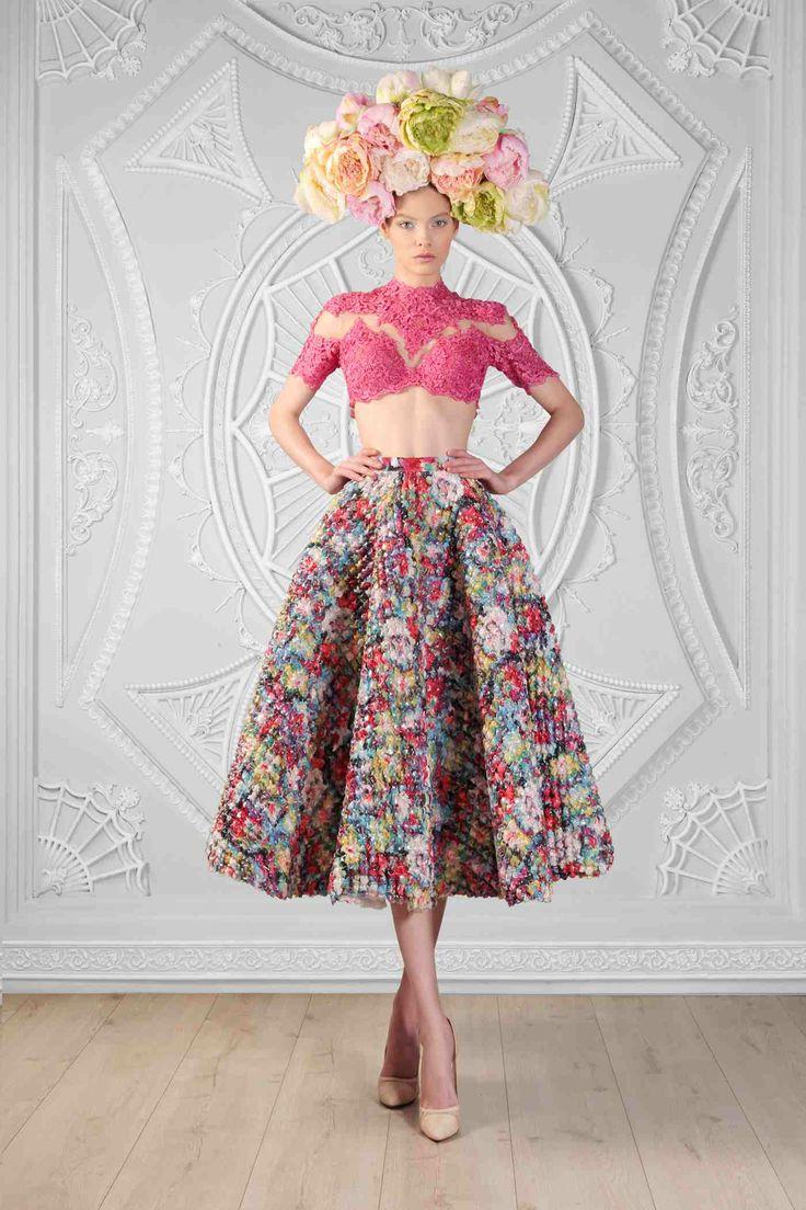Lace Cropped Top  Printed Plastic Skirt   Photographer: Odette Kahwaji  Makeup: Fady Kataya  Hair: Salon Le Jack  Model: Velvet Model Management