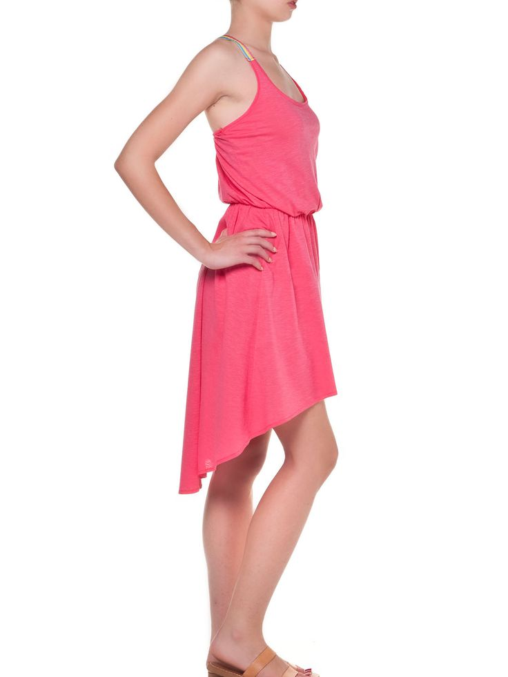 Casual summer look. Asymmetric coral dress by MyMoo