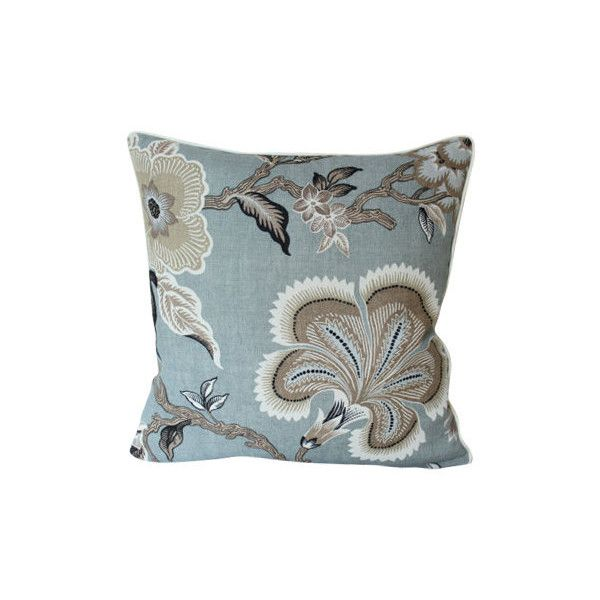 Mineral Blue Hothouse Flower Schumacher Pillow Cover With Ivory Piping (310 BRL) liked on ...