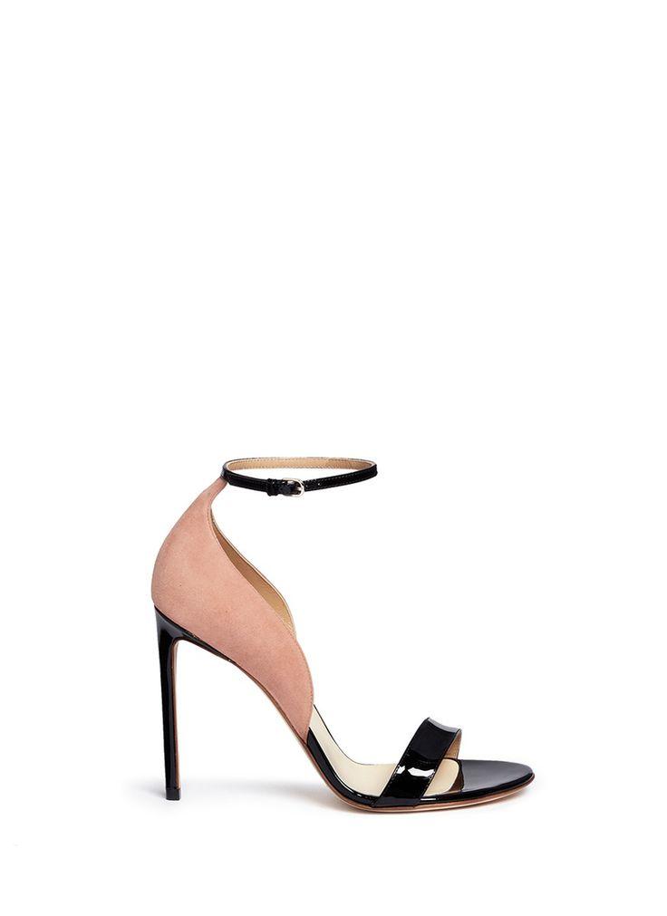 FRANCESCO RUSSO Suede Panel Patent Leather Sandals. #francescorusso #shoes #sandals