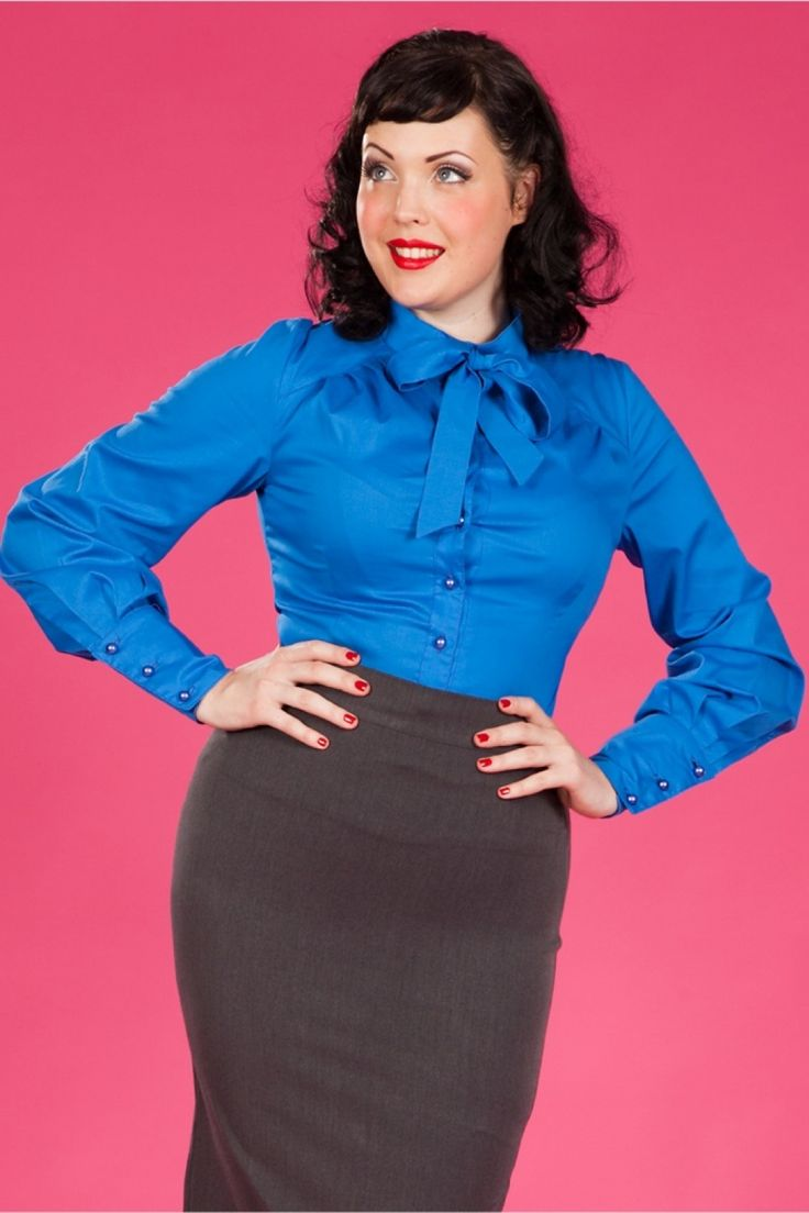 Miss Candyfloss - 30s Bow Tie Blouse in Royal Blue