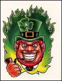 Irish Leprechaun Figures | Irish: Leprechaun w/ Pipe Temporaray Tattoo: Toys & Games