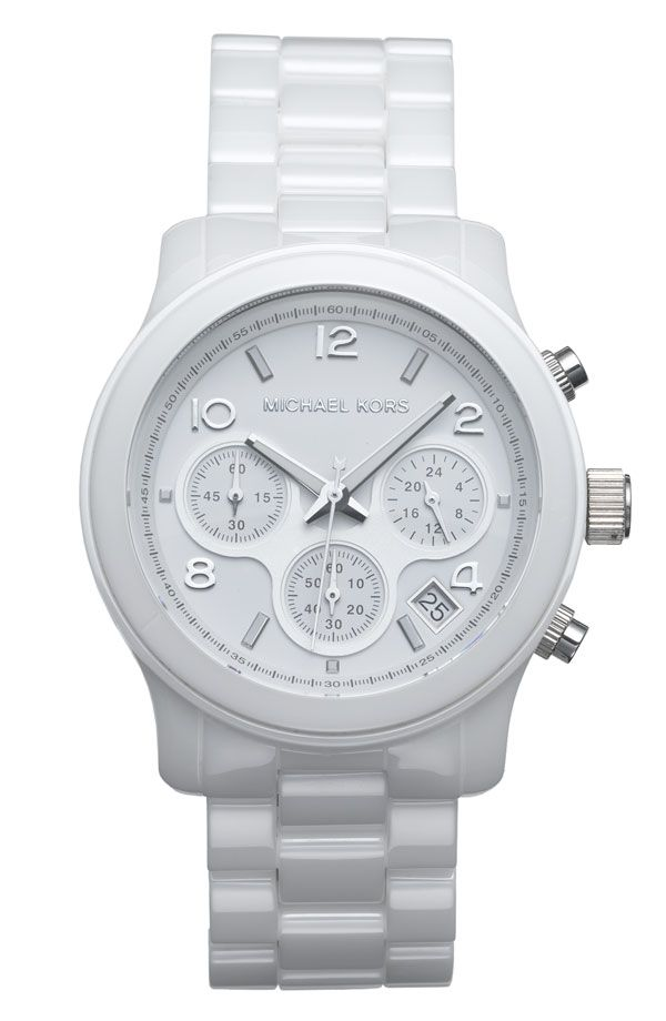 Michael Kors Ceramic Chronograph Watch. Straight baller. This is the next white watch I want..Runway Ceramics, Ceramics Watches, Watches Michael Kors, Kors Runway, Michael Kors Watches, White Watches, Ceramics Chronograph, Georgia Aquarium, Men Watches