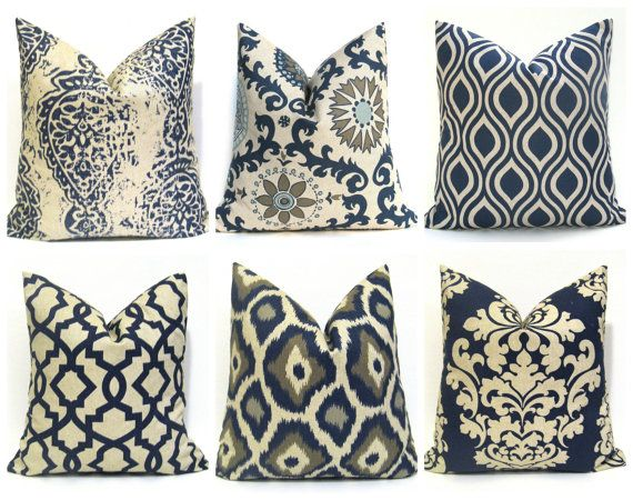 decorative pillows blue pillow blue tan pillow by eastandnest