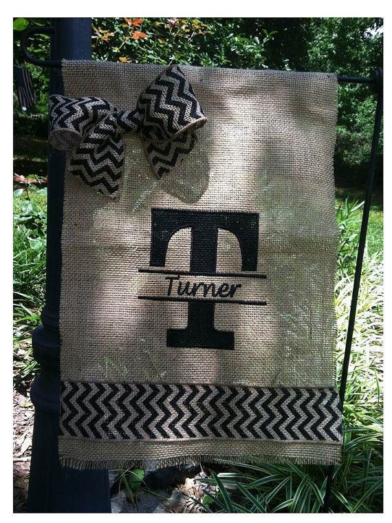 burlap yard flags | Monogrammed Burlap Yard Flag With Bow by ... | Outdoor Living