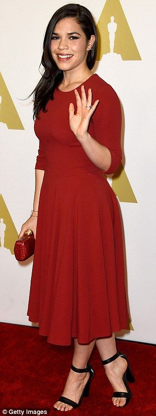 I can do glamorous too! Former Ugly Betty star America Ferrera looked lovely in a red dres...