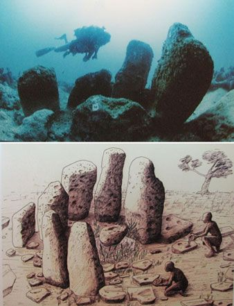The 9,000-year-old underground megalithic settlement of Atlit Yam. Artist's reconstruction of stone formation