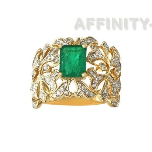 2.95 Ct Green Emerald May Birthstone & 1/3ct Diamond 14K Yellow Gold Ring #AffinityHomeShopping #SolitairewithAccent #EngagementWeddingAnniversaryMemorialDay