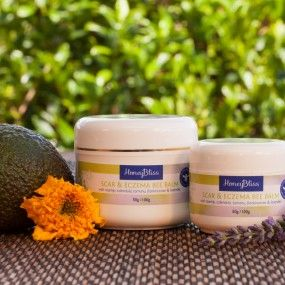 Scar & eczema balm. 50 & 100gm pot. 250ml lotion. Soothing and non-irritating moisturising balm with active healing ingredients for injury, scars  and eczema or psoriasis. Great little balm for post surgery, tattoos, wounds and skin irritations.  Lets skin breathe, while it promotes healing and reduces irritation, this can also be used in place of Healing Balm, with its additional boost of great skin healing and soothing oils of calendula, rosehip, and essential oil of frankincense.
