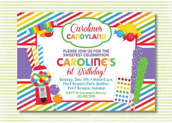 candyland theme party invations   Custom 5x7 birthday ...