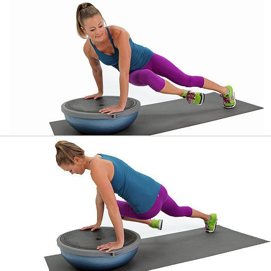 Core Work: Twisted BOSU Plank - No matter how you slice it or dice it, the BOSU makes everything harder — in a good way. Take your basic plank, add the BOSU into the equation, and your core is working overtime. Here's a progression of plank exercises for this devilish piece of equipment that assures a good burn!