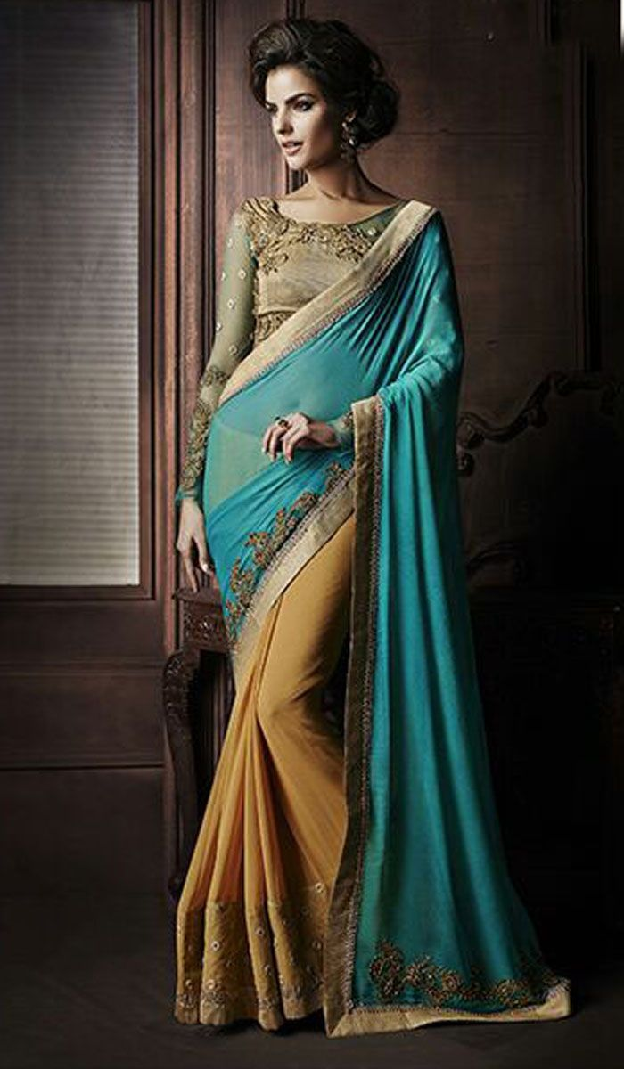 Pallu - Georgette Pallu With Patch Work And Handwork Skirt - Georgette Skirt With Embroidered Lace Blouse - Fancy Matty Blouse With Embroidery And Handwork with Net Sleeves