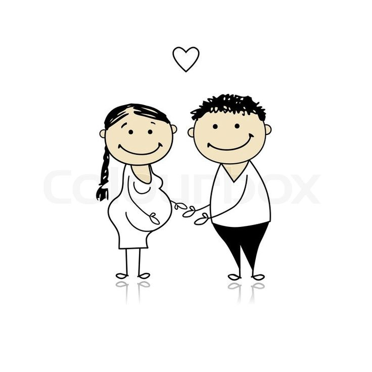 Stock vector of 'Happy parents waiting for baby, pregnancy'