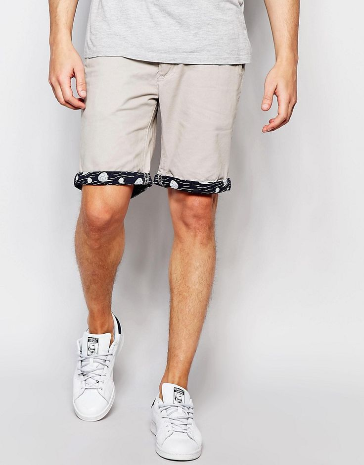 Image 1 of Bellfield Chino Shorts with Contrast Wave Print Turn Up