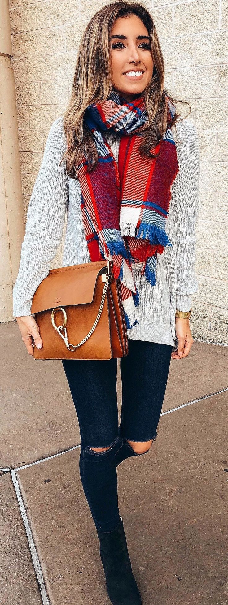 #winter #outfits  gray sweater; brown leather shoulder bag; red and blue scarf; black distressed jeans #ShoulderBags