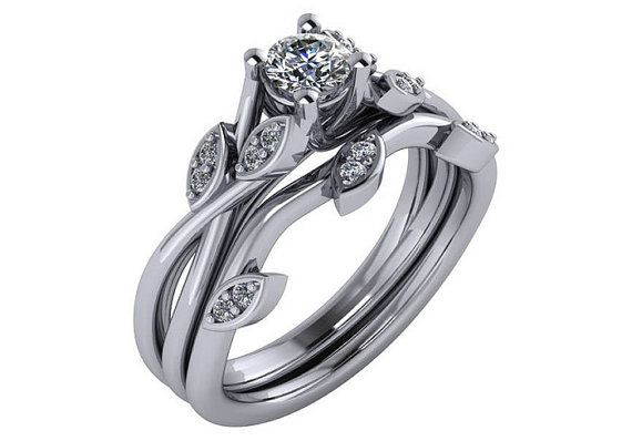 Unique Diamond Engagement Ring Lotus Diamond by cldiamonds on Etsy