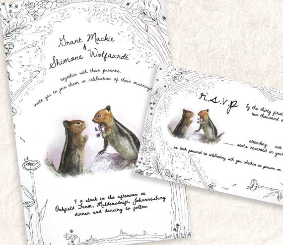 Watercolour and Ink Squirrel Love Wedding by SixDaysCreations