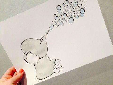 Babyelefant der blæser bobler ❤️