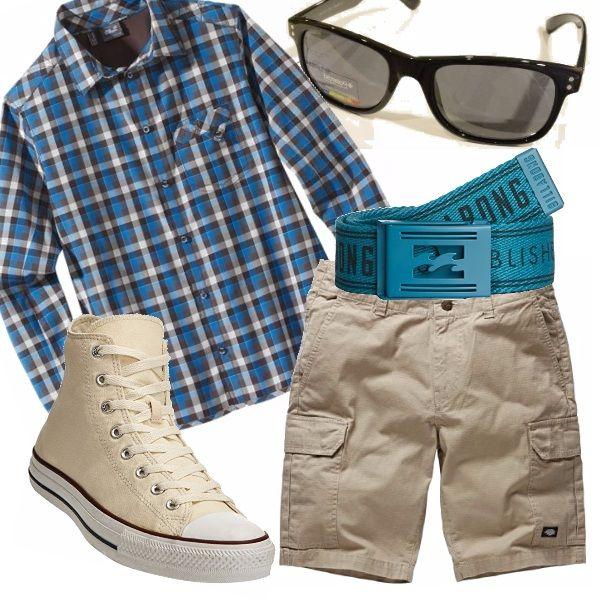 Outfit  da giornata calda in questo Aprile,  carina l'abbinata bermuda con camicia check  le Converse donano il tocco sportivo| Buon weekend| e buone passeggiate!