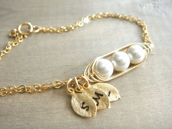 Mini / Tiny Personalized 3 Peas in a Pod Bracelet wrapped in Gold Filled Wire - Choose your Initial and Pearl Color - Mother's Day on Etsy, $33.81