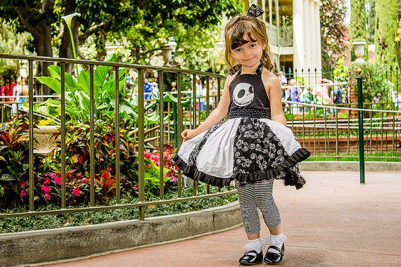 Nightmare Before Christmas Dress - Jack Skellington inspired custom boutique halter dress -  infant toddler girls Disney dress