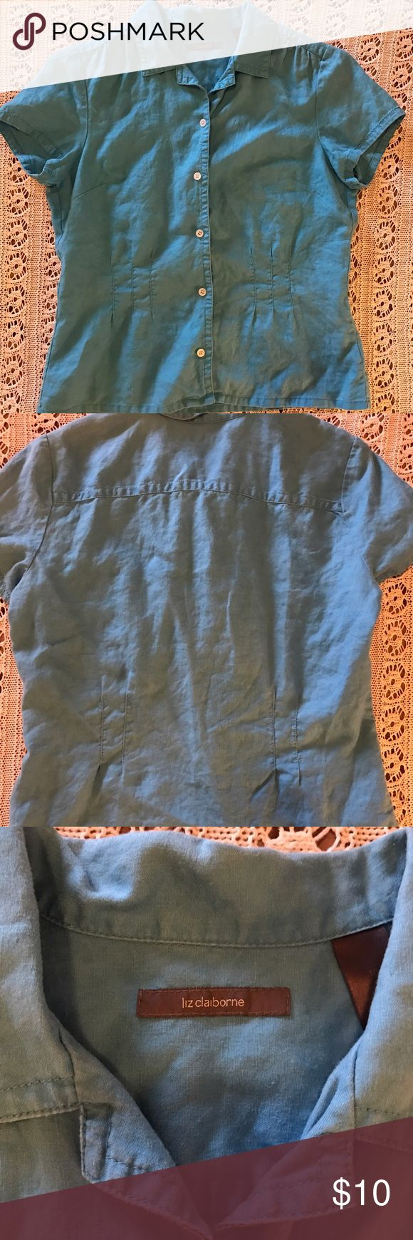 Turquoise Blue Short Sleeve Top Sz 10P This pretty top from Liz Claiborne will become a favorite~ figure-highlighting silhouette. Size 10 petite. Linen. Liz Claiborne Tops Blouses