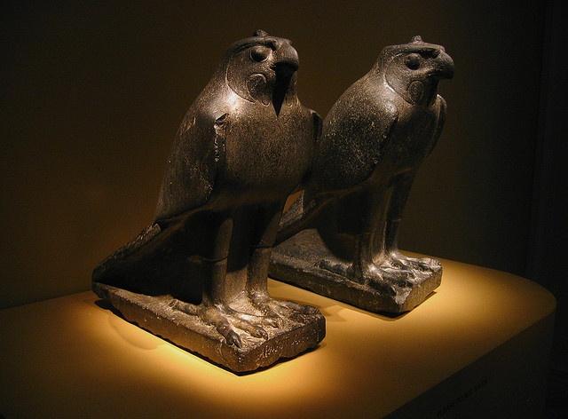 TWO FALCONS.   305-30 B.C.E. Ptolemaic Dynasty, Egypt. Stone. Freer Gallery of Art. Washington, DC.