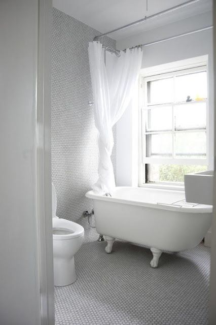 the Polished Pebble: The Modern Vintage Bathroom thinking possibility penny tile..not sure