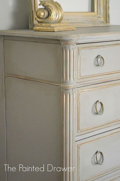 chalk painted drawer chest, chalk paint, painted furniture. - painted with ASCP French Linen and highlighted the details with Martha Stewart's Vintage Gold.