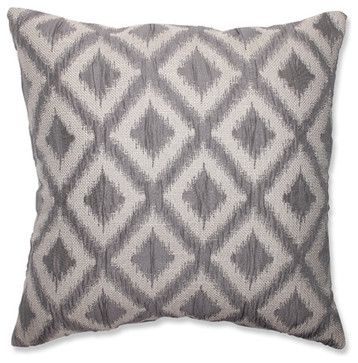 Lima Black Pearl Grey and Off-White 18-Inch Square Throw Pillow contemporary bed pillows and pillowcases