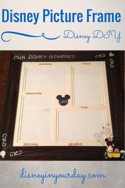 Disney picture frame - a great way to remember your Disney trip forever is to display some of your favorites in a picture frame - add some Disney to it with this tutorial!