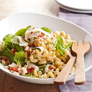 Canned beans help transform pasta salads into easy lunch recipes. If you plan to transport the salad to work for a quick lunch, keep the spinach separate and stir it in just before serving.
