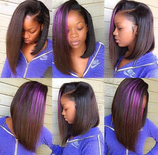 side part bob sew in #hair #slayed