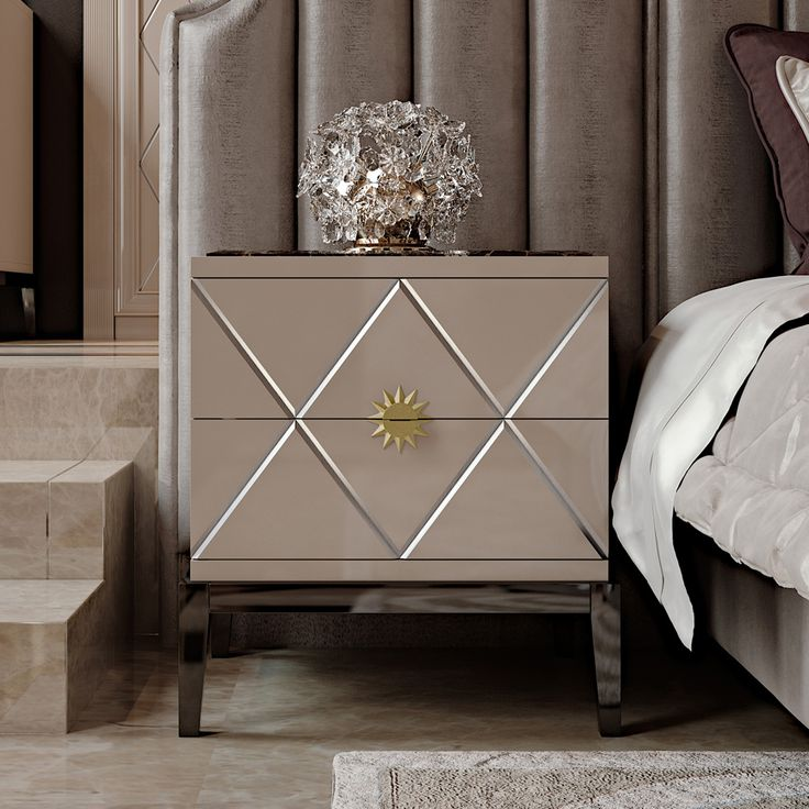 Art Deco Inspired Italian Designer Lacquered Bedside Cabinet