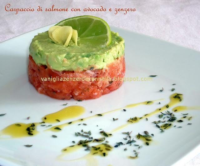 Carpaccio di salmone con avocado e zenzero