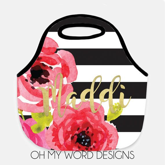 Personalized Lunch Tote-Neoprene Lunch Tote-Lunch Bag-Monogram Lunch Tote-Lunch Bag-Neoprene Lunch Tote