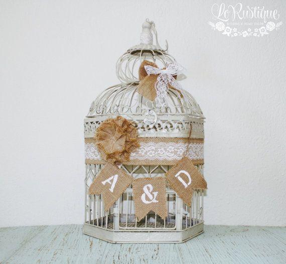 Birdcage Card Holder, boîte carte de mariage, mariage rustique, bannière de toile de jute, personnalisé - XL, Cage à oiseaux crème, décorations de mariage dentelle