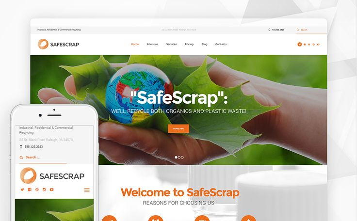 Best 12 Environmental & Clean Energy WordPress Themes (Solar, Wind and Recycling) - Recycling Services Environmental (WordPress template) Item Picture