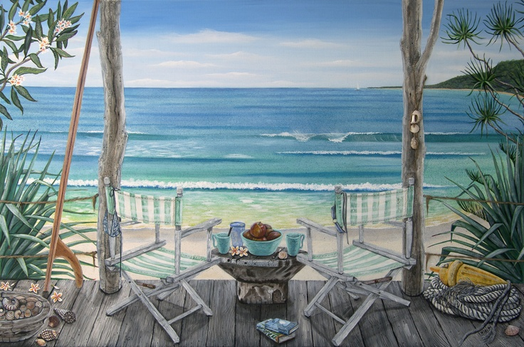 Agave Veranda: Mixed media on Canvas. 152 x 102xm. Everything I love about beach living: frangipani, Pandanus, agave, surfboard, shells, timber deck, striped deckchairs & books...