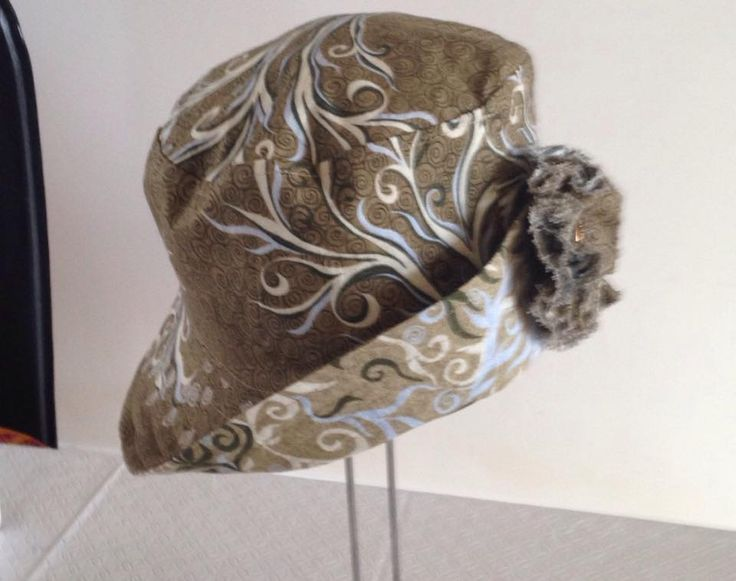 Reversible bucket hat with shabby chic flower