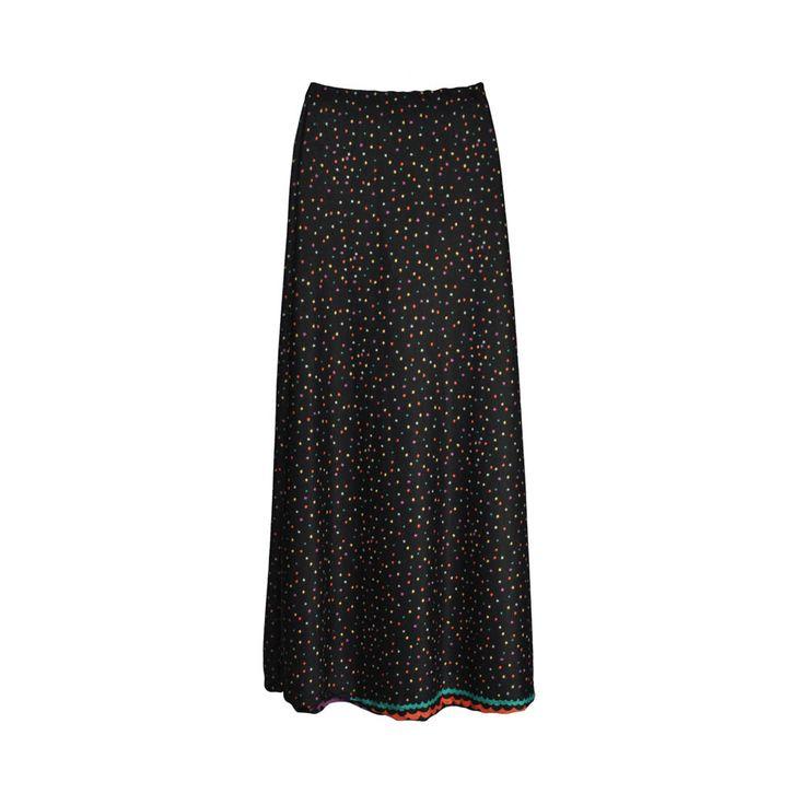 Falda maxi de mujer lanilla, estampado de colores.