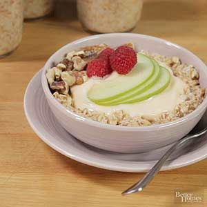 Make ahead and wake up to a sweet, substantial treat with this fruit-and-nut flavored oat cereal breakfast./