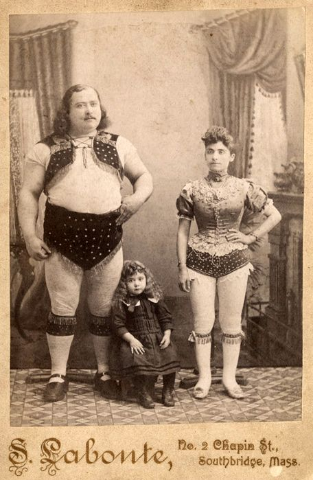 Louis Cyr, 19th Century Canadian circus strongman, with his family.
